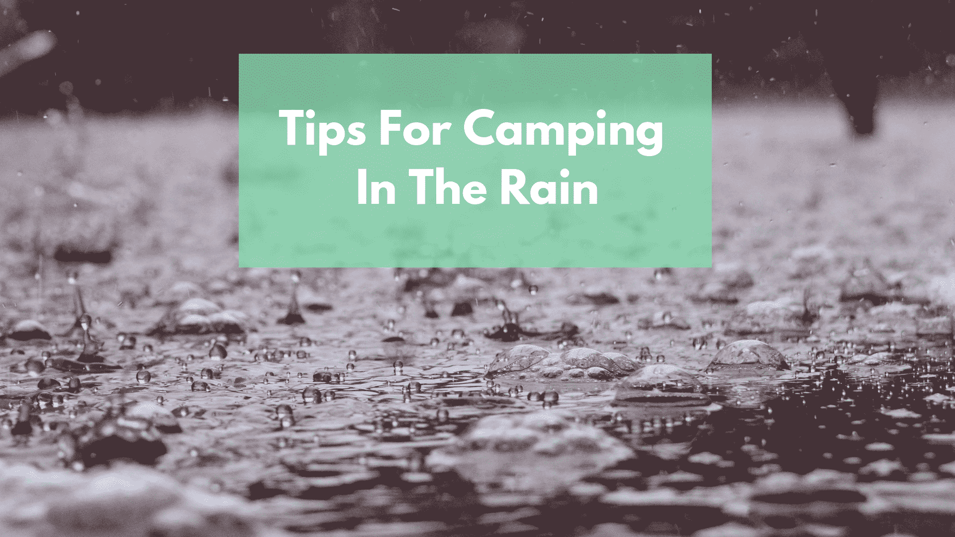 Rainy Background with title Tips for Camping in The Rain